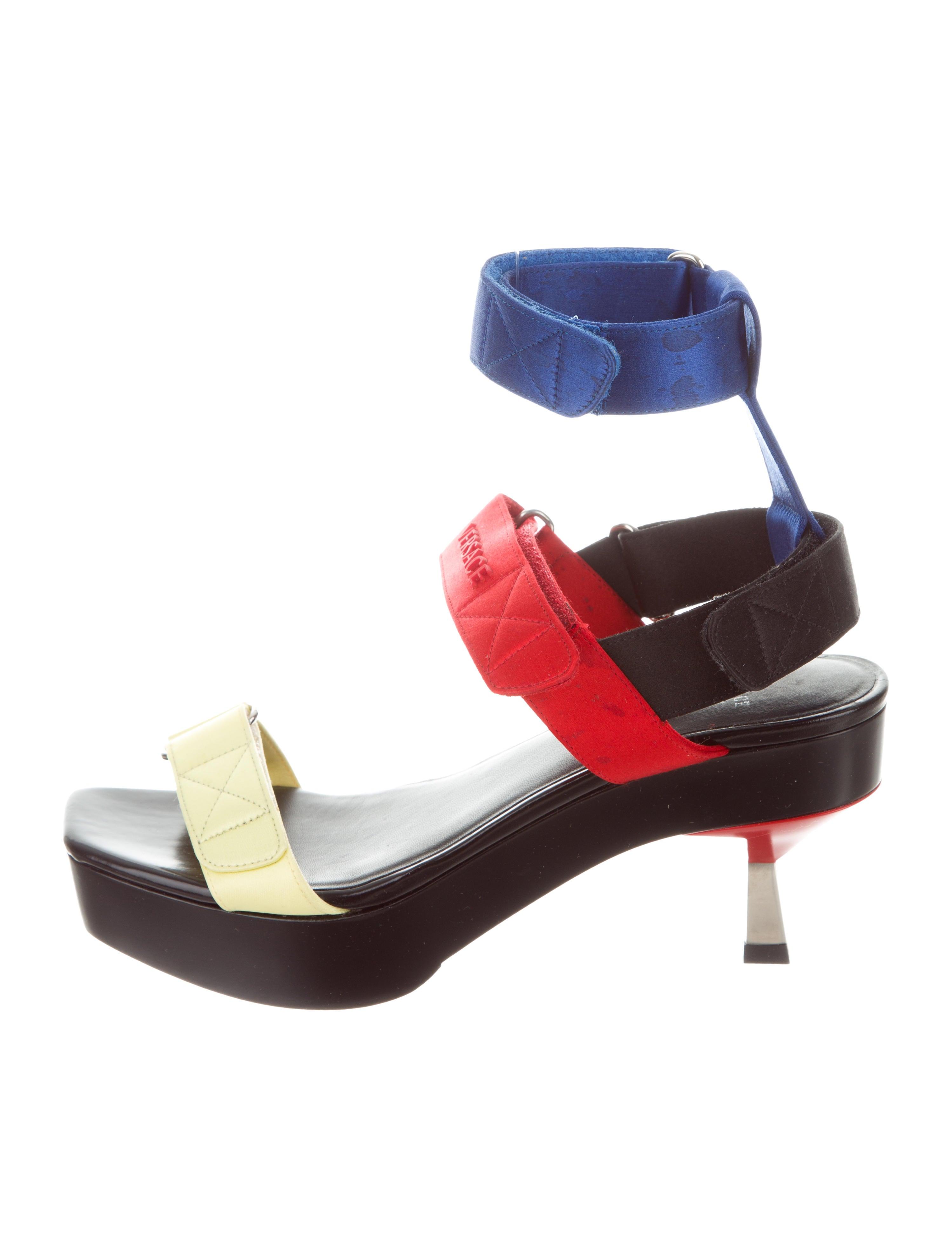 Versace Satin Multstrap Sandals professional choice cheap online discount new arrival vYU4b
