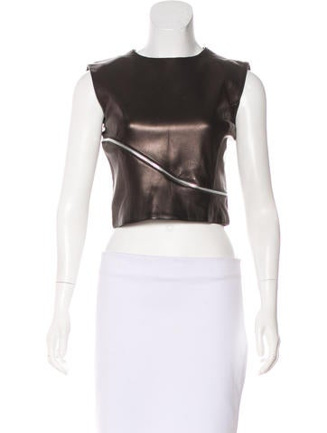 Versace Leather Crop Top None