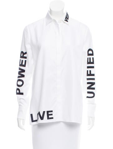 Versace Embroidered Button-Up Top None