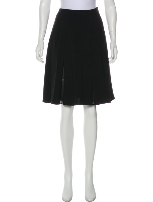 Versace Leather-Trimmed Pleated Skirt Black