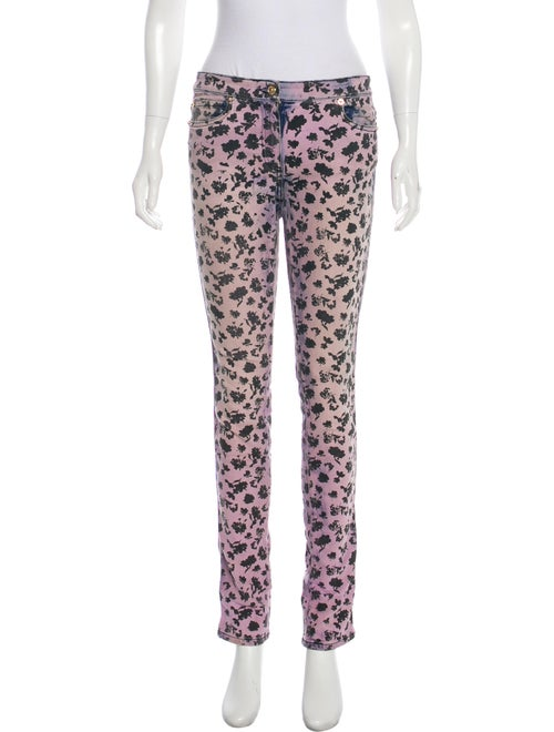 Versace Printed Mid-Rise Jeans Purple