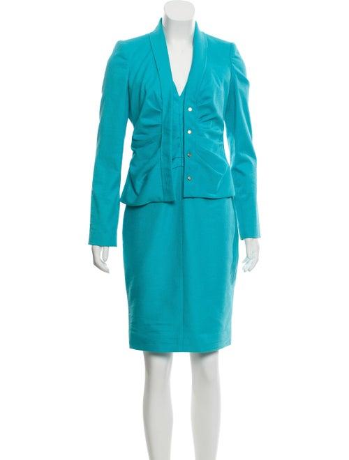 Versace Ruched Knee-Length Dress Set blue