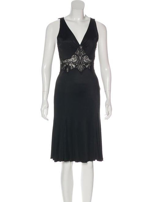 Versace Lace-Trimmed Jersey Dress Black