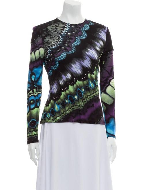 Versace Printed Crew Neck Sweatshirt Purple