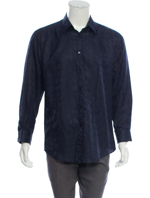 Versace Silk-Blend Button-Up Shirt navy