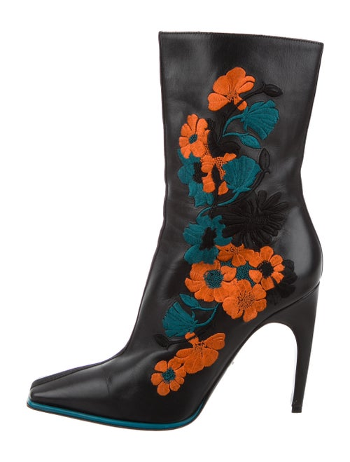 Versace Embrodiered Ankle Boots Leather Boots Blac