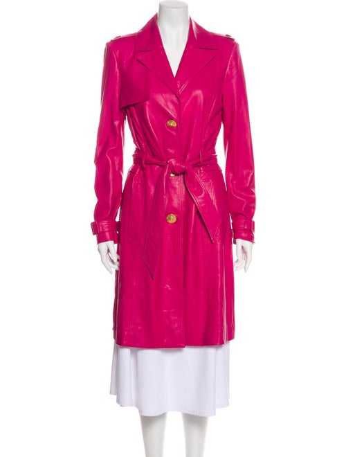 Versace Leather Trench Coat Pink