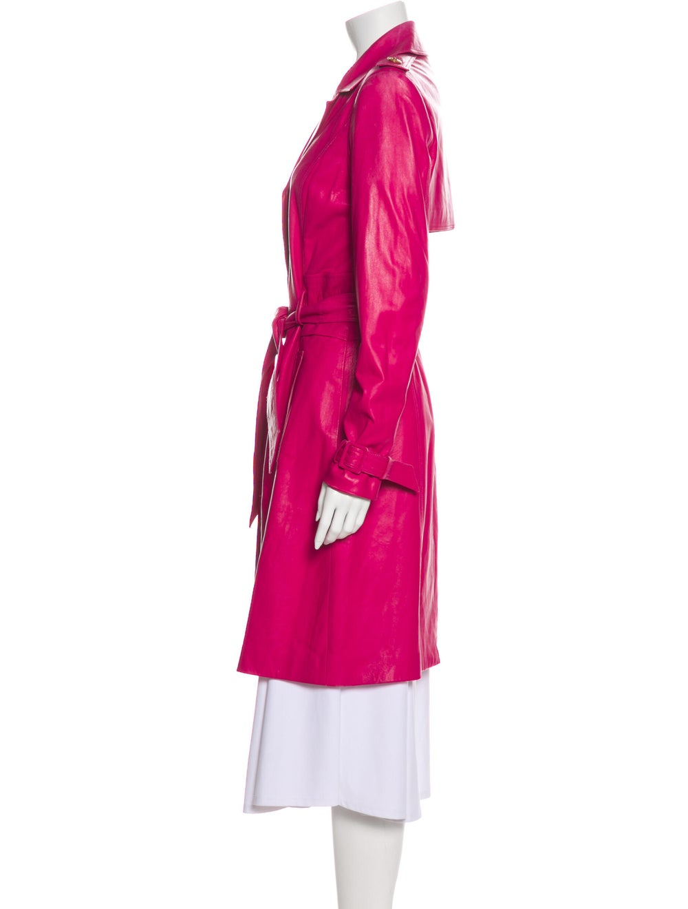 Versace Leather Trench Coat Pink - image 2