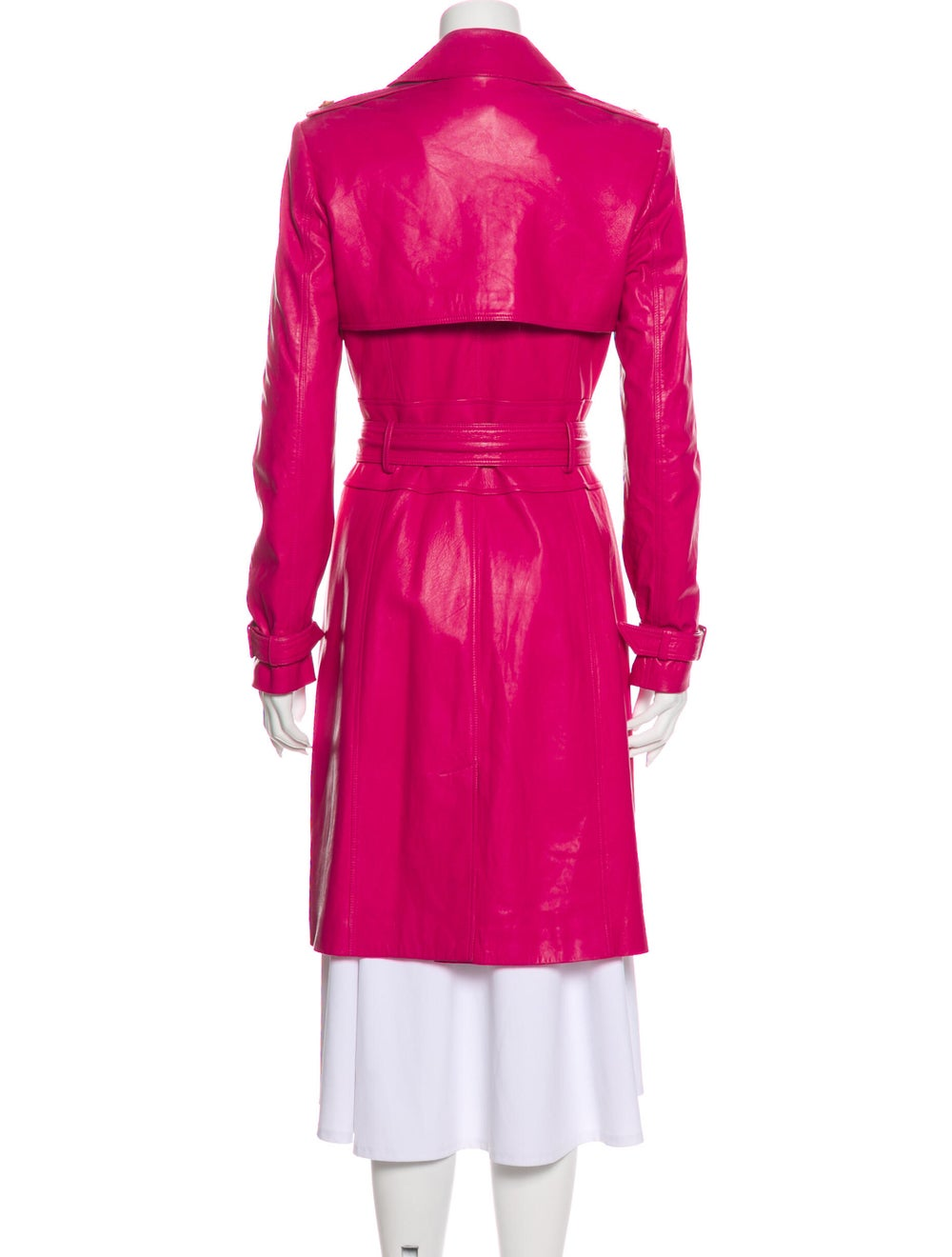 Versace Leather Trench Coat Pink - image 3