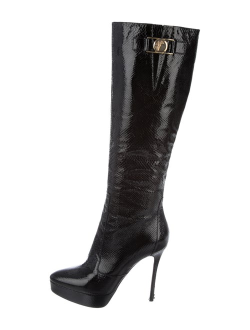 Versace Patent Leather Knee-High Boots Black