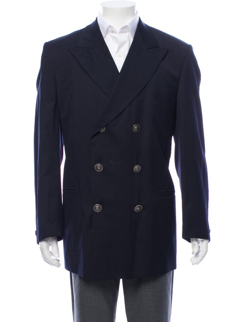 Versace Wool Double Breasted Blazer navy