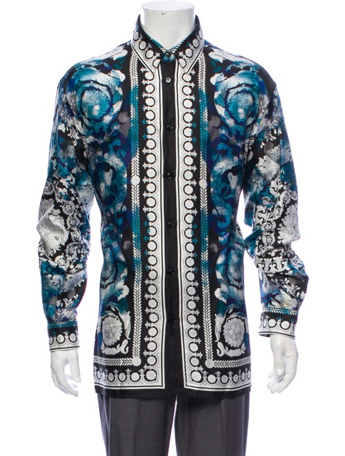 Versace Silk Printed Button-Up Shirt multicolor