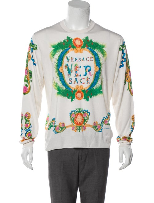 Versace Silk Floral Print Pullover