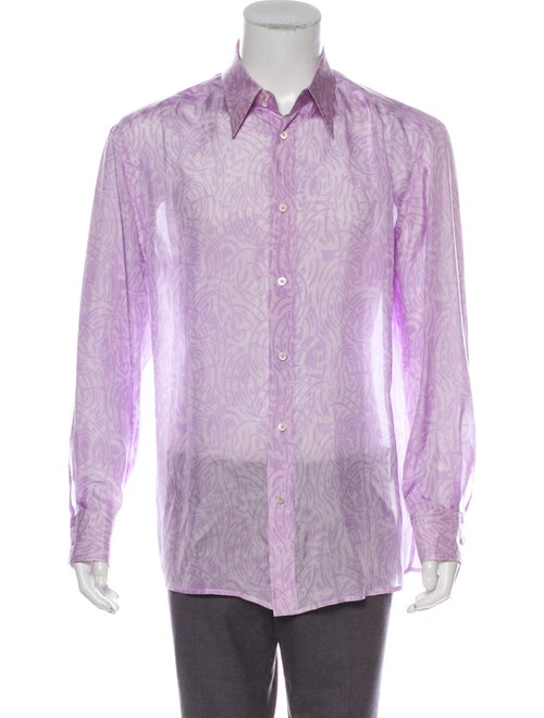 Versace Silk Button-Up Shirt purple