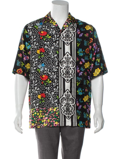 Versace Silk Button-Up Shirt black