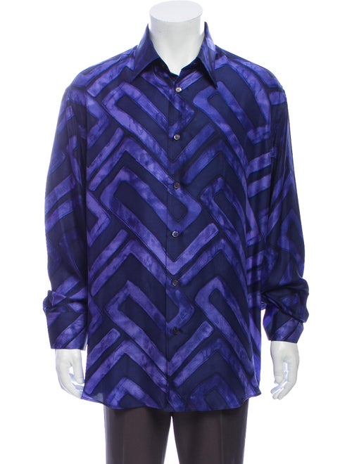 Versace Silk Printed Dress Shirt Blue