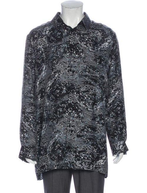 Versace Silk Printed Dress Shirt Black
