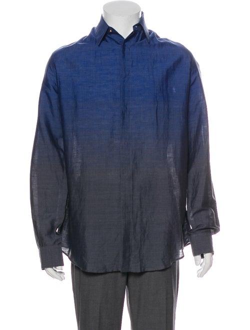 Versace Ombre Linen Dress Shirt Blue - image 1