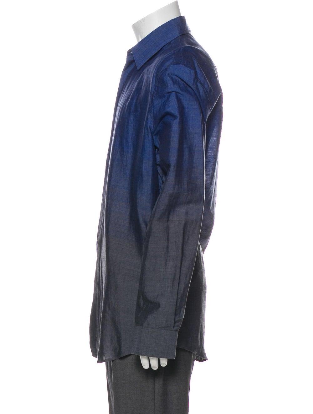Versace Ombre Linen Dress Shirt Blue - image 2