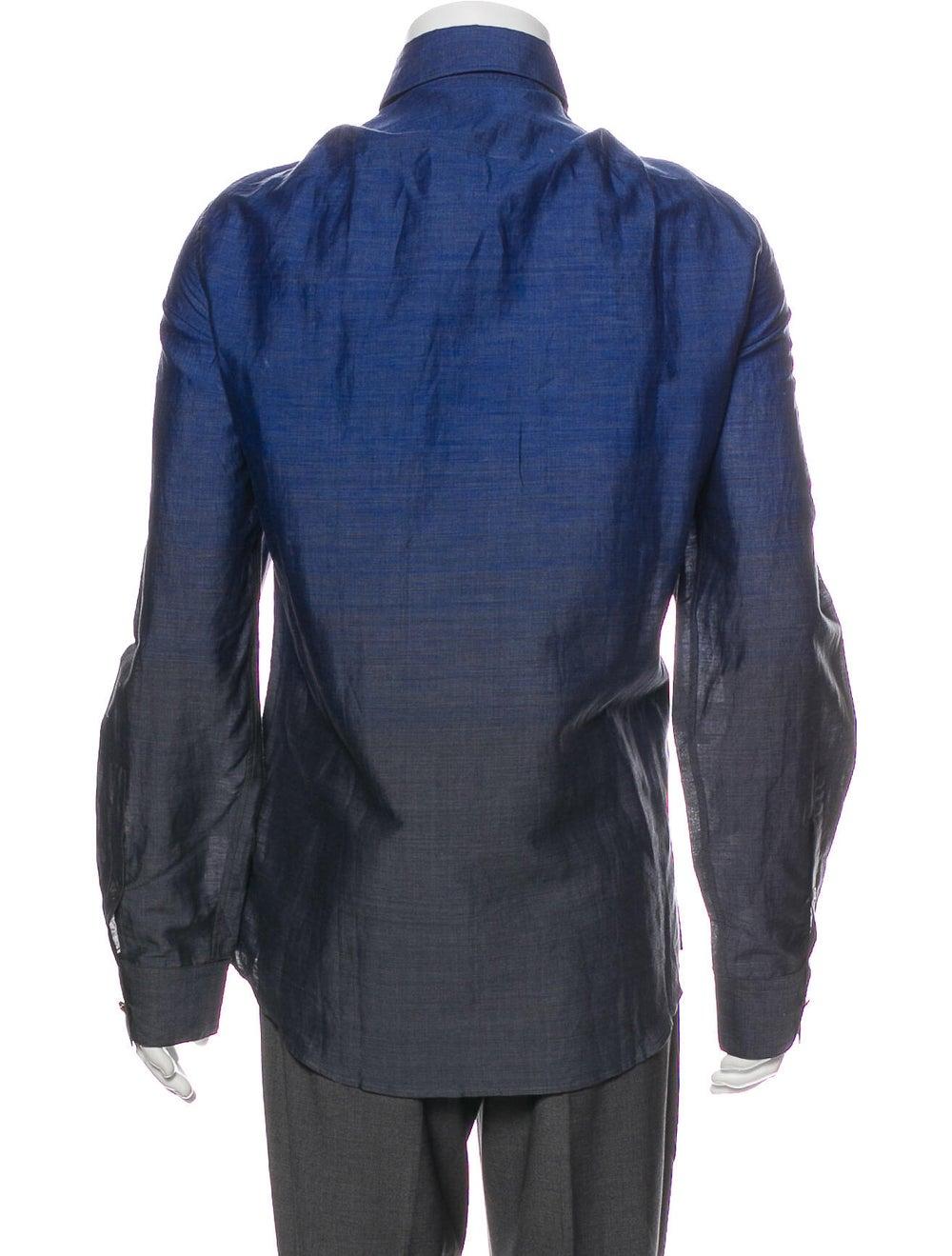 Versace Ombre Linen Dress Shirt Blue - image 3