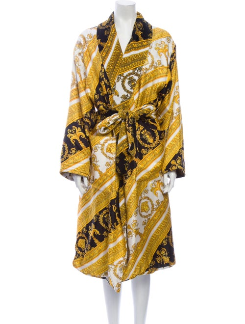 Versace Silk Printed Robe Yellow