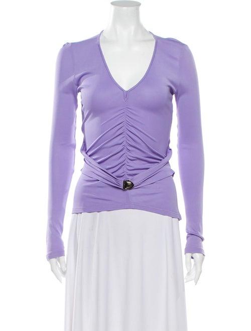 Versace V-Neck Long Sleeve Sweatshirt Purple