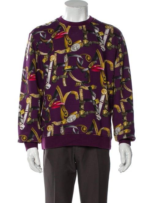 Versace Graphic Print Crew Neck Sweatshirt Purple
