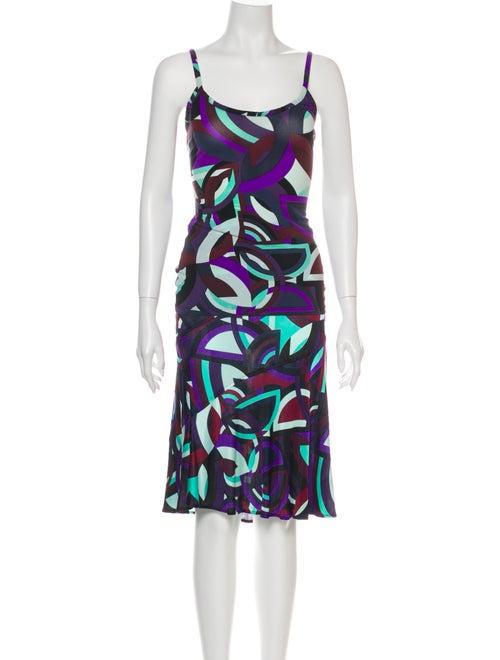 Versace Printed Skirt Set Purple