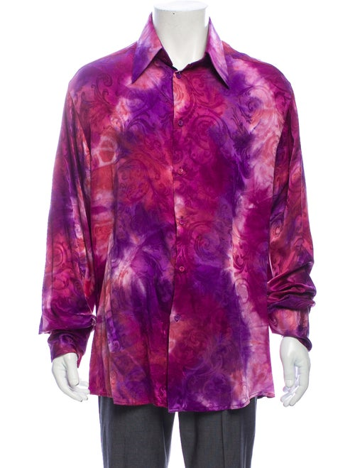 Versace Silk Printed Dress Shirt Purple