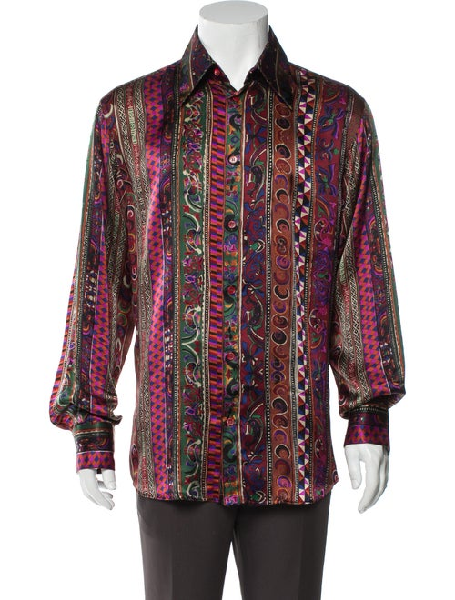 Versace Vintage Silk Shirt Brown