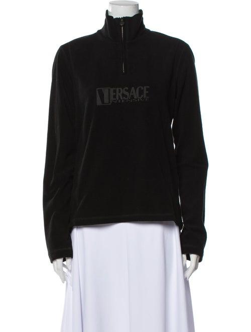 Versace Graphic Print Mock Neck Sweatshirt Black