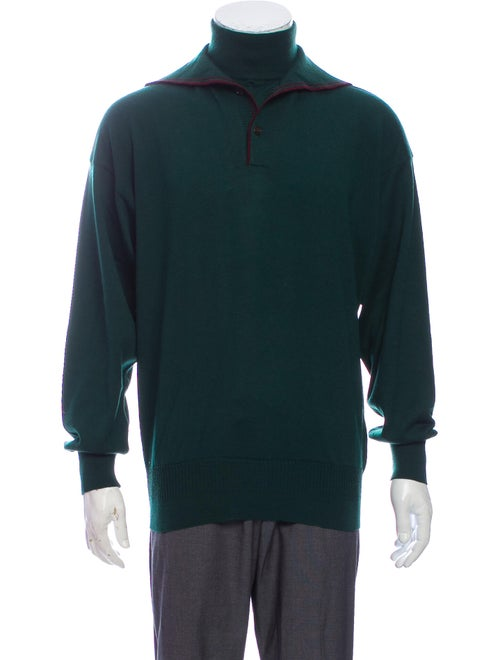 Versace Turtleneck Long Sleeve Pullover Green