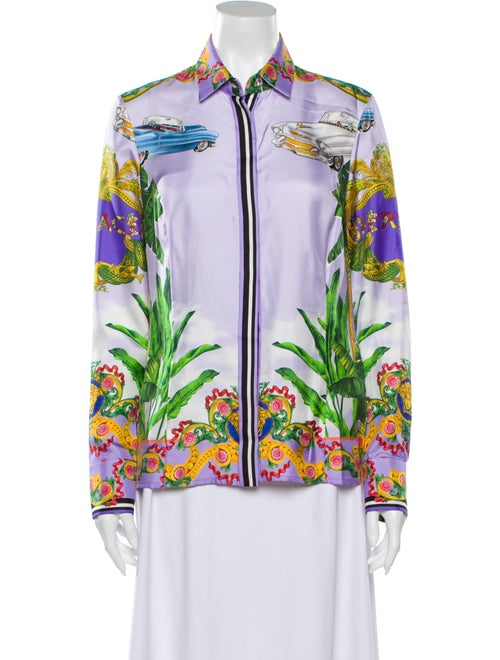 Versace Silk Floral Print Button-Up Top w/ Tags Pu