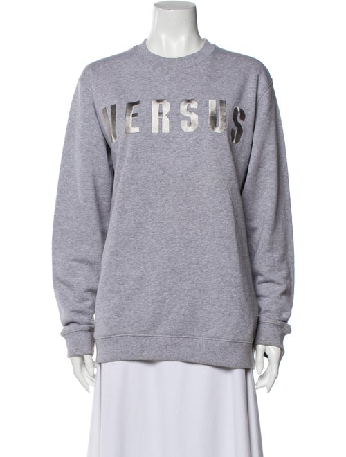 Versace Graphic Print Crew Neck Sweatshirt Grey