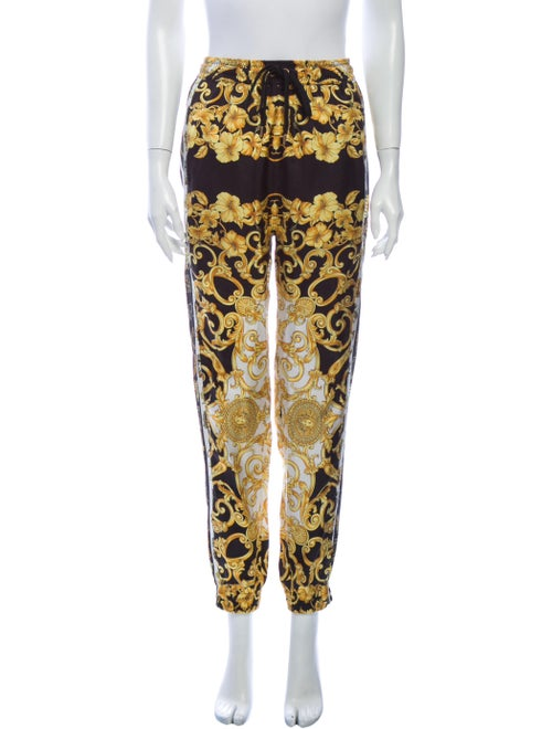 Versace Silk Skinny Leg Pants Black