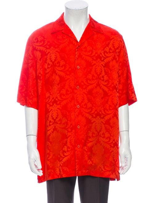 Versace Silk Printed Shirt Orange