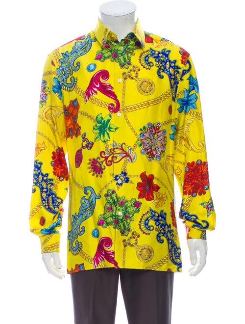Versace Silk Printed Shirt Yellow