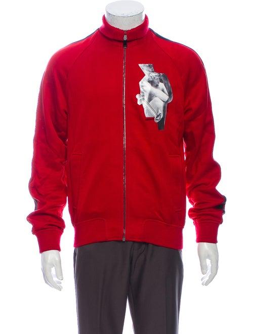 Versace Graphic Print Mock Neck Sweatshirt Red