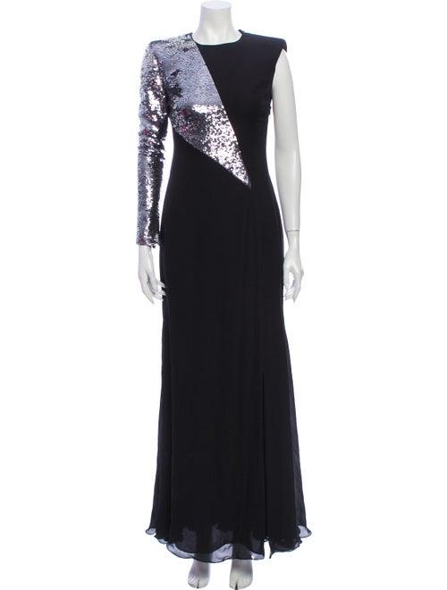 Versace Silk Long Dress Black