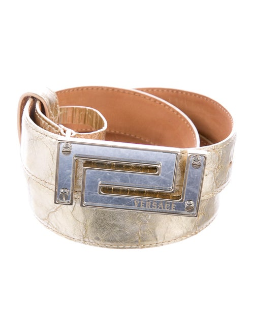 Versace Leather Logo Belt Gold