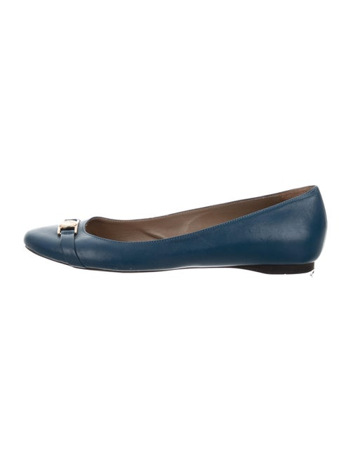 Versace Leather Ballet Flats Blue