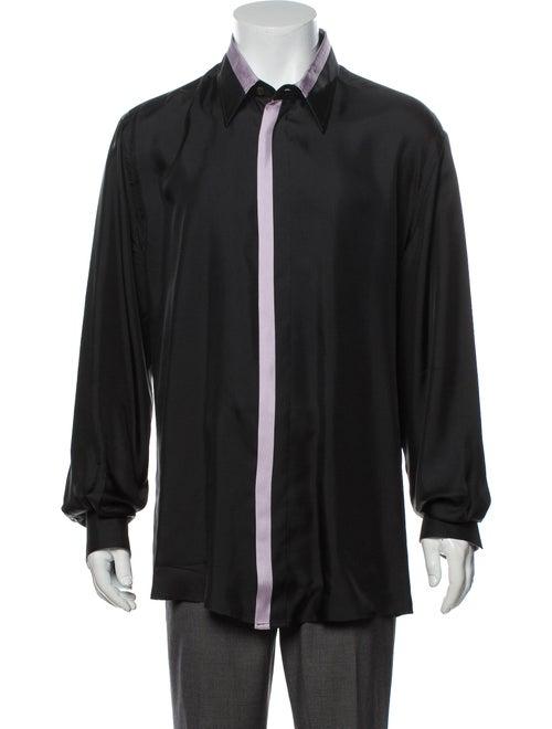 Versace Silk Long Sleeve Dress Shirt Black