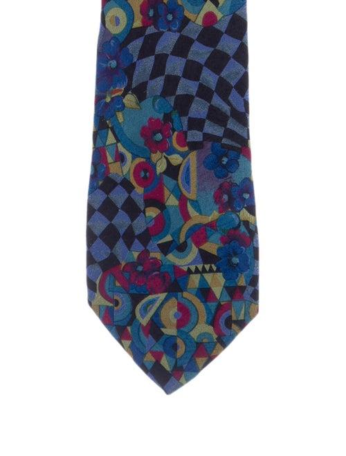 Versace Printed Silk Tie blue