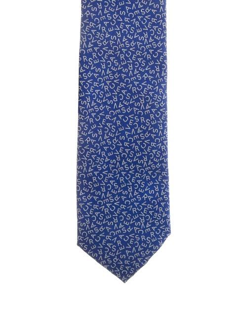 Versace Logo Silk Tie blue