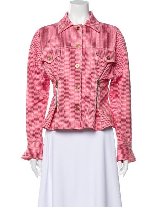 Versace Houndstooth Print Jacket Red