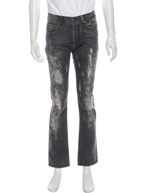 Versace Distressed Slim Fit Jeans Grey