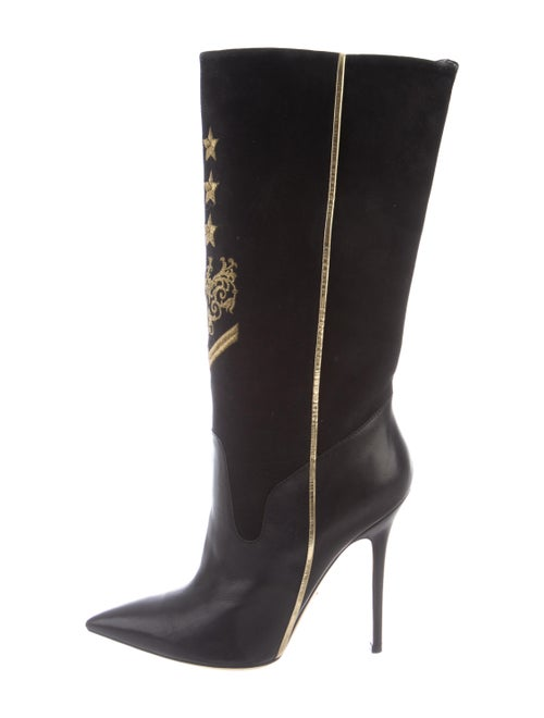 Versace Suede Embroidered Accent Boots Black
