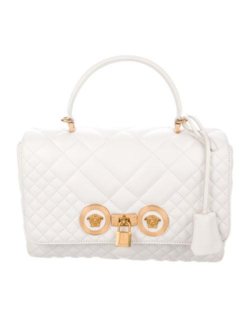 Versace Quilted Leather Satchel White