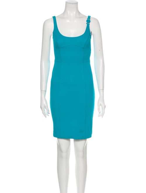 Versace Scoop Neck Mini Dress Blue