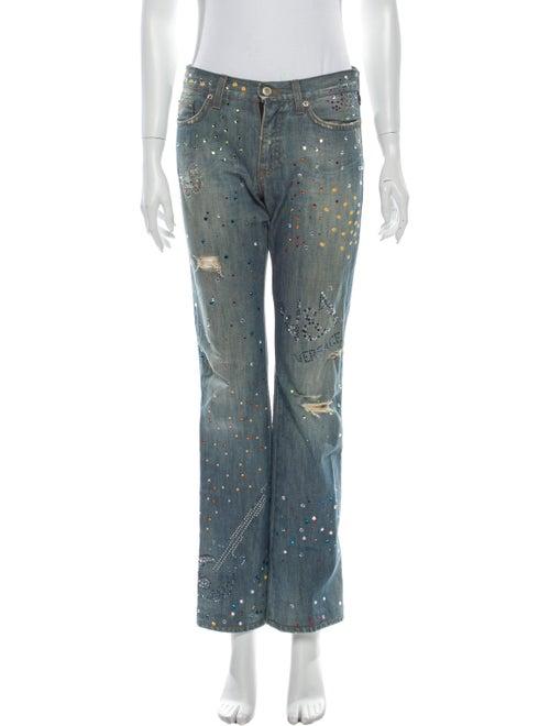 Versace Mid-Rise Straight Leg Jeans Blue